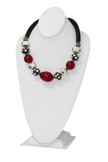 7 Hands Red/Black/Cream Beaded Necklace 10092019-D