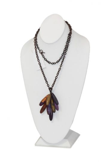 Loretta Lam Purples Copper Link Long Necklace P121
