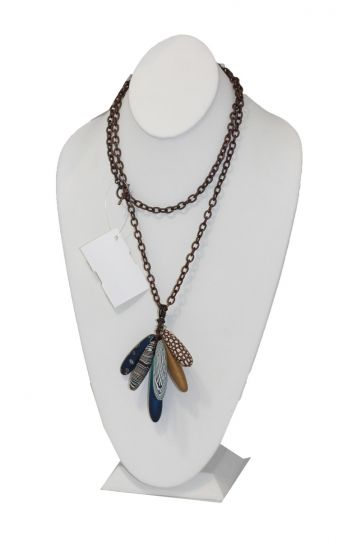 Loretta Lam Blues Copper Link Long Necklace P121
