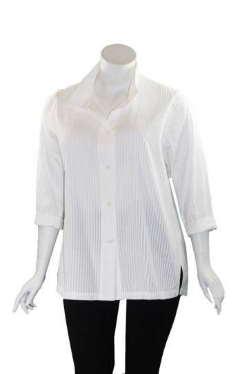 Redwood Court Plus Size White Pin Tuck Shirt SH6651