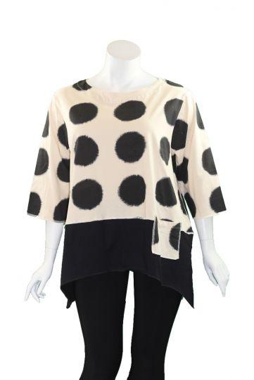 Cupcake Cream/Black Dot Pullover Shirt FA18-7208-C