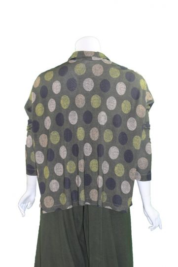 Alembika Olive Multi Dot Half Button Top AT213O