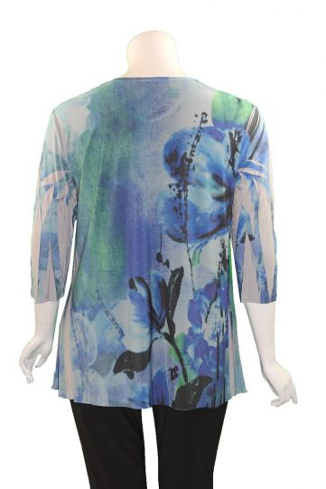 Sole Dione Studio Plus Size Blue Floral Printed Tee 848