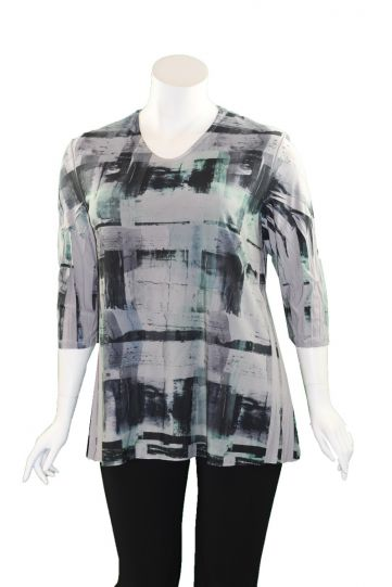 Sole Dione Studio Plus Size Green Printed Tee 847