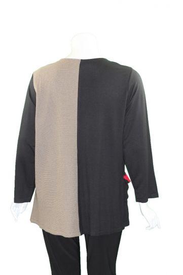 Ela Plus Size Sand/Black Patchwork Tunic 1101-20
