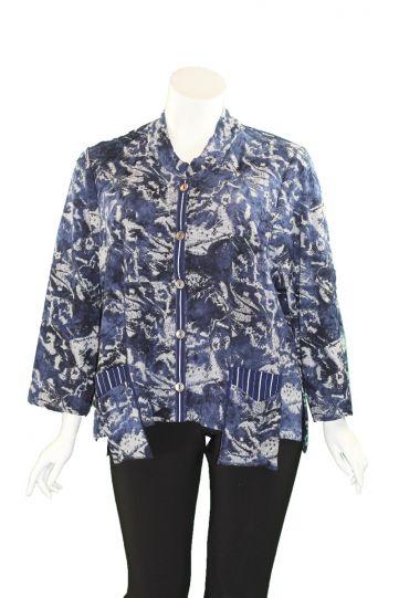 Ela Plus Size Navy Button 2 Pocket Jacket E1091
