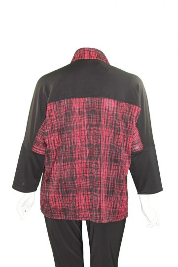 Ela Plus Size Red Plaid Button Dolman Sleeve Top 1107-20