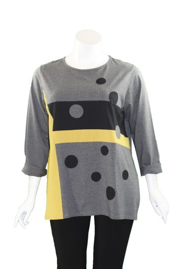 Redwood Court Plus Size Black/Grey/Yellow Dot Block Top T706DX