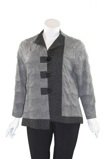 Moonlight Grey/Black Button Front Jacket 2966