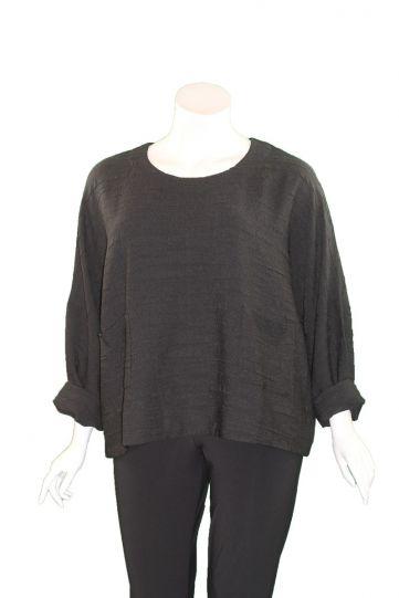 Kozan Plus Size Black Pucker Sam Pullover Top SP-4100
