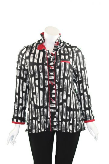 Moonlight Black/White/Red Button Jacket 9196