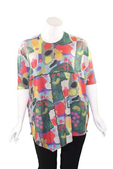 Inoah Oversized Multi Art Pullover Top T721FL-YO2