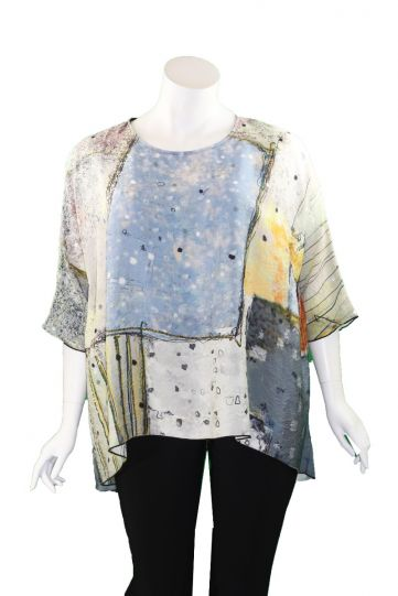 3 Potato Multi Printed Over Sized High Low Top 0025-21