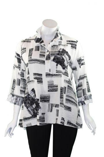 Cubism Plus Size Black/White Henley Shirt 413-13567X-12326
