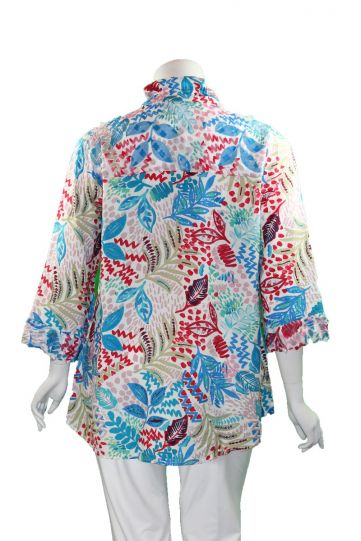 Cubism Plus Size Multi Henley Shirt 413-13567X-JM78