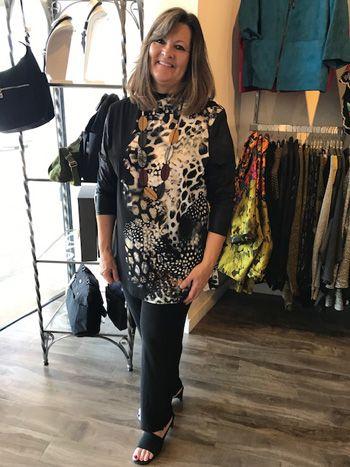 Doris Streich Plus Size Black/Leopard Shirt 289-434-84