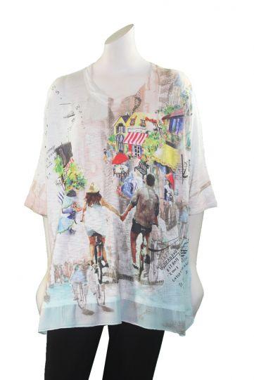 Inoah Multi Over Sized Shirt Couple Bike Riding T326K-J11