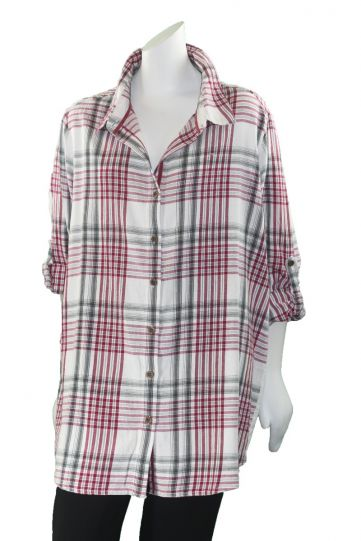 Caite Plus Size Ivory/Red Plaid Lyndse Top KYCO260