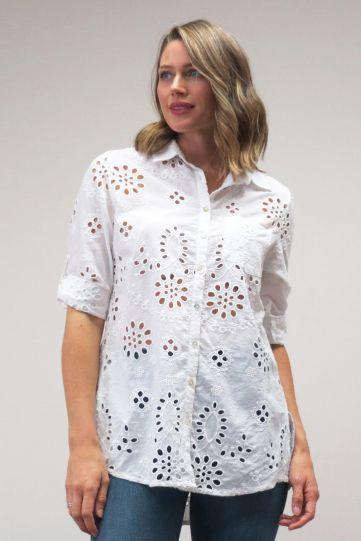 Kyla Seo Plus Size Ladys White Eyelet Button Shirt KYCO429