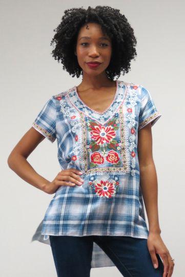 Kyla Seo Plus Size Ladys Plaid Embroidered Tunic KYVKIO