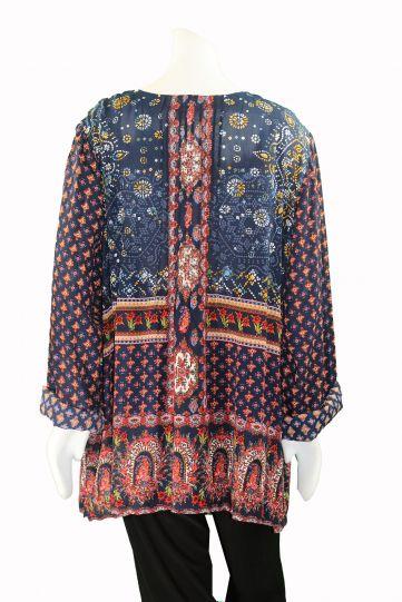 Love & Kyla Plus Size Blue/Red Multi Print Pullover Blouse LKIC096