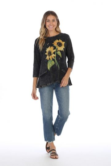 Jess & Jane Plus Size Black Sunny Garden Printed Cotton Tunic M12-1311X