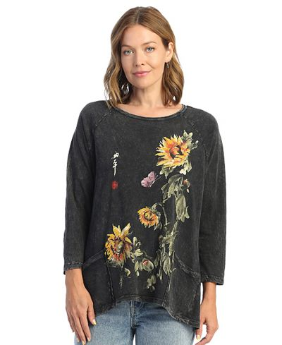 Jess & Jane Plus Size Black Sun Date Cotton Pocket Tunic M12-1628X