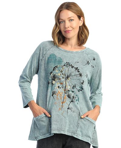 Jess & Jane Plus Size Teal Whimsical Cotton Pocket Tunic M12-1632X