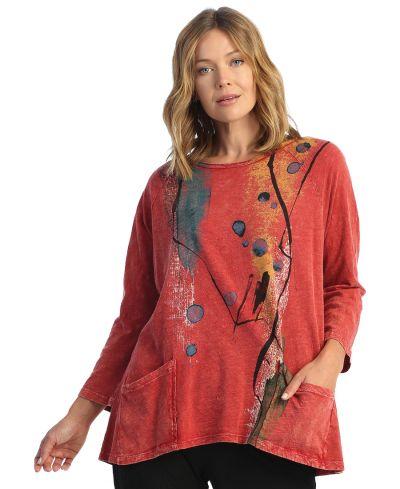 Jess & Jane Plus Size Red Tango Cotton Pocket Tunic M12-1664X