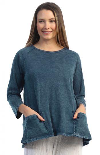 Jess & Jane Plus Size Sapr Solid Cotton Pocket Tunic M12X