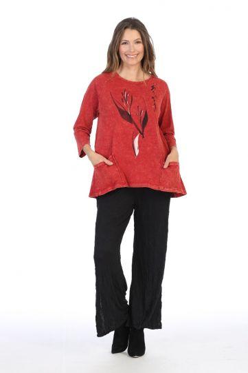 Jess & Jane Plus Size Red Printed Cotton Tunic M12-1388X