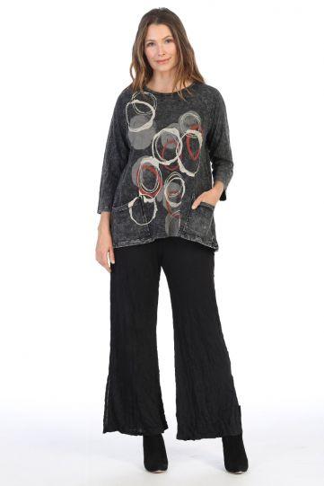 Jess & Jane Plus Size Black 2 Pocket Pullover Style Tunic M12-1407X