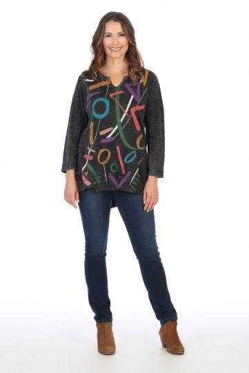 Jess & Jane Plus Size Black Highlight Cotton Tunic M26-1427X