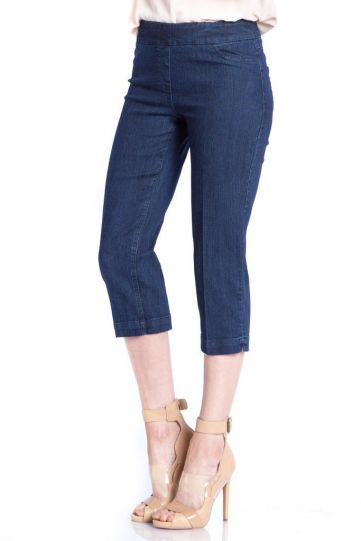 Multiples Plus Size Denim Wide Band Crop Capri Pant M2603P