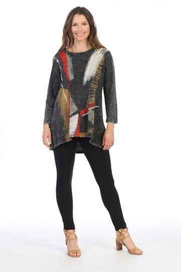 Jess & Jane Plus Size Black Gilded Print Cotton Tunic M46-1402X