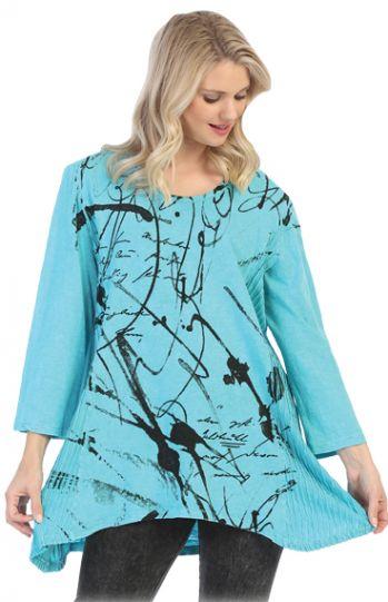 Jess & Jane Emld Scrolls Cotton Knit Tunic M55-1362X