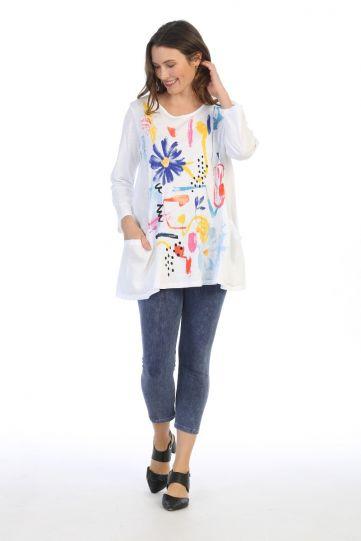 Jess & Jane Plus Size White Lulu Cotton Tunic M60-1487X