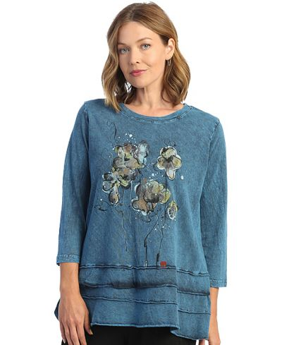 Jess & Jane Plus Size Sapr Violets Cotton Tunic M66-1538X