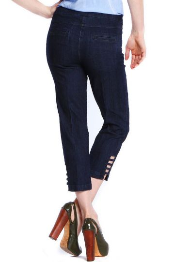 Multiples Denim Solid Ladder Leg Opening Pant M9038PW
