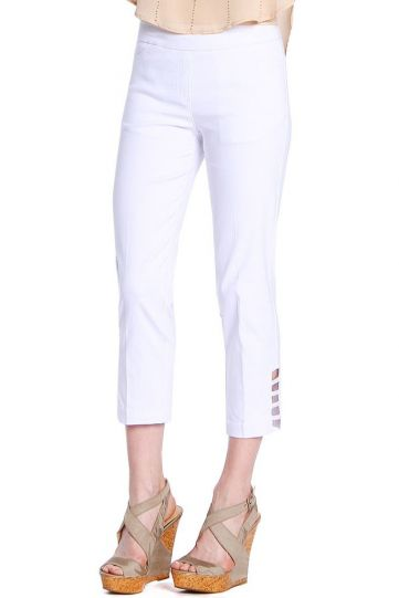 Multiples White Solid Ladder Leg Opening Pant M9038P