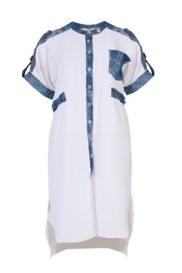 Mat Fashion White/Denim Button Dress 7301.3011