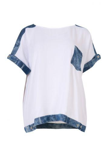 Mat Fashion White/Denim Pullover Top 7301.1016