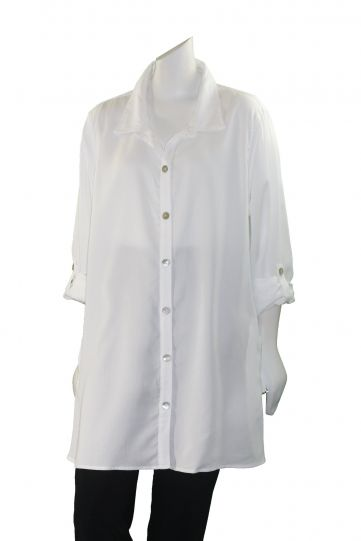 Multiples Plus Size White 2 Pocket Button Front Shirt M18103BW