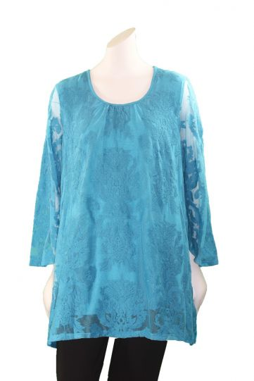 Multiples Plus Size Peacock Bell SlV Mesh Embroidered Top M38205TW