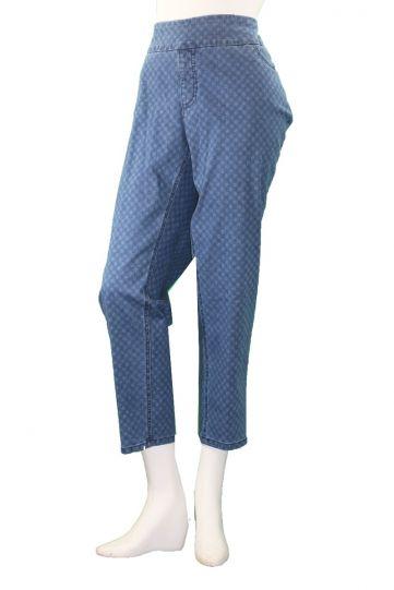 Multiples Plus Size Indigo Check Print Ankle Pant M38709PW
