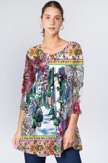 Et' Lois Plus Size Floral France Lowa Tunic C3071W-N05