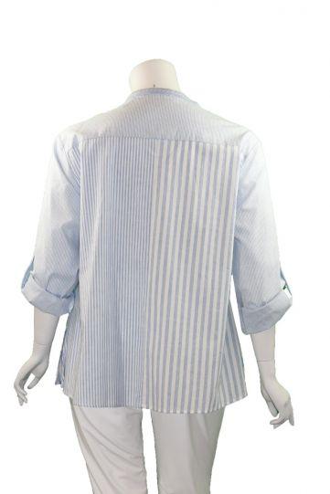 Andree by Unit Plus Size Blue/White Striped Floral Blouse P14375