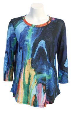 Jess & Jane Plus Size Blue Multi Layla Tunic PS1-1449X