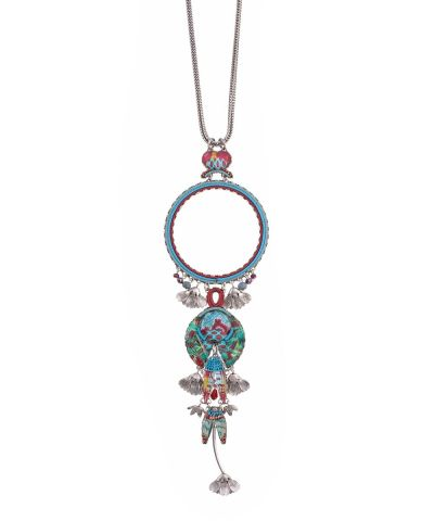 Ayalabar Blue Castle Long Necklace 013R3113