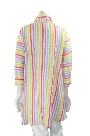 Ralston Multi Striped Button Front 2 Pocket High Low Shirt 43575